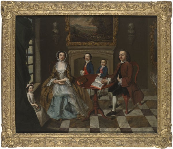 Group portrait of a family in an interior, possibly the Roubel family