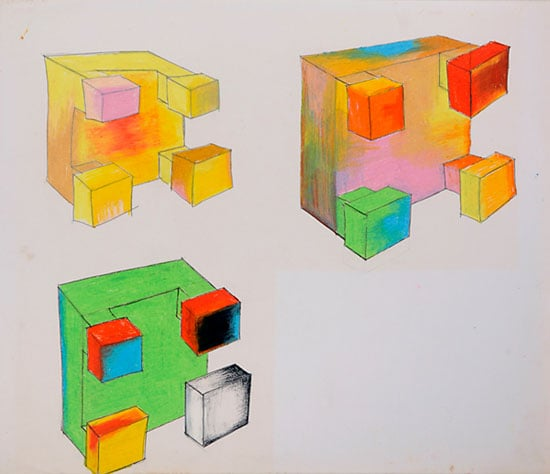 1) Photographs from the 'Cardboard Box' series; 2) Drawings for geometric and minimalist sculptures