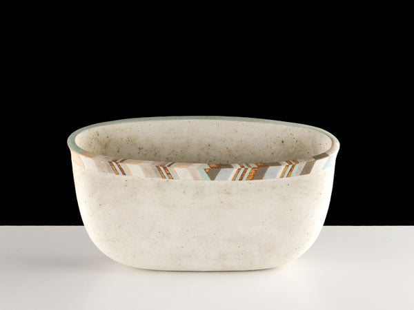1) Optical Bowl with Fractured Rim; 2) Counterpoint Vase in Twelve Tones