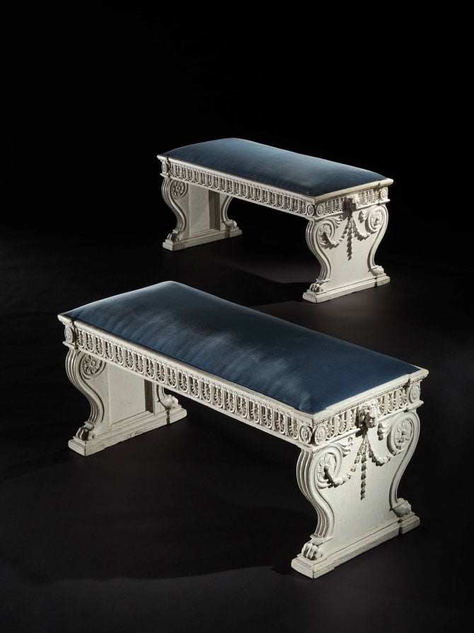 A pair of hall benches