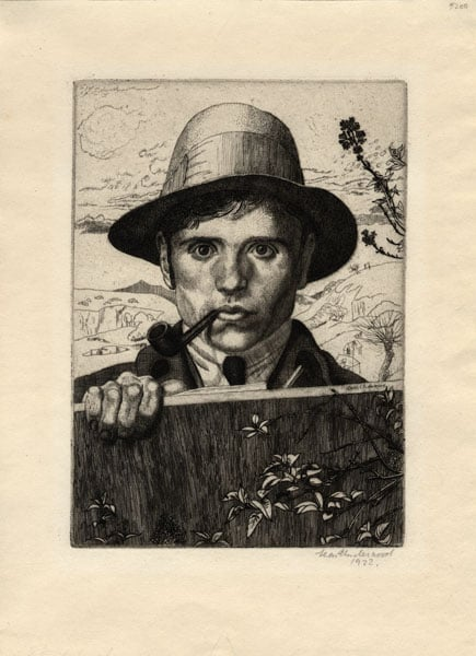 Self Portrait with Hat in a Landscape