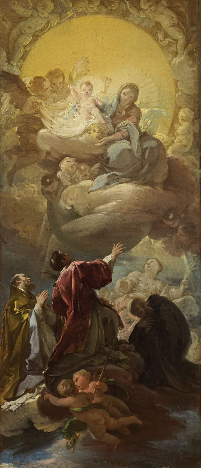 Madonna and Child in Glory appearing to St Stephen and three other Saints
