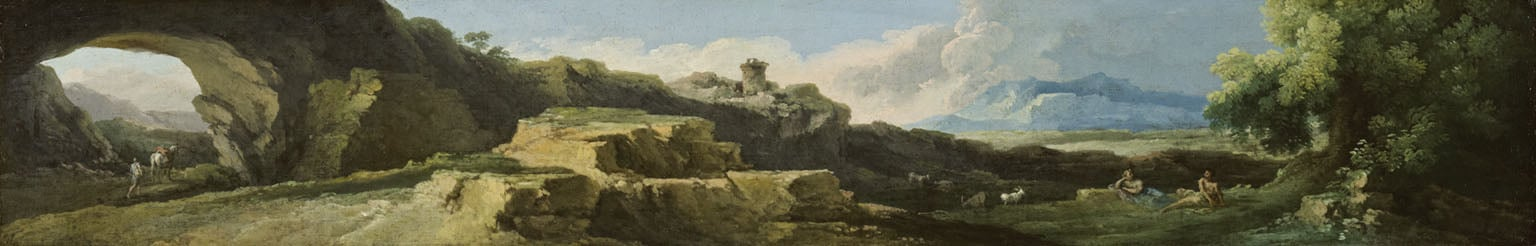 Rocky Landscape with a Natural Arch and a Distant Tower
