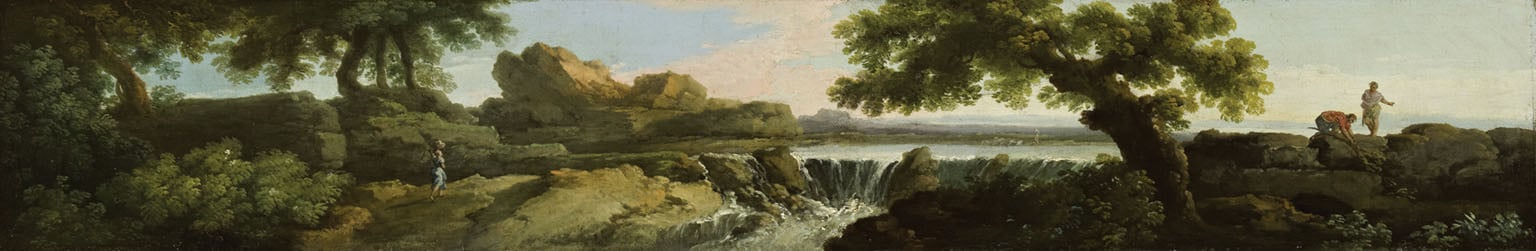 Landscape with a Waterfall and distant Lake