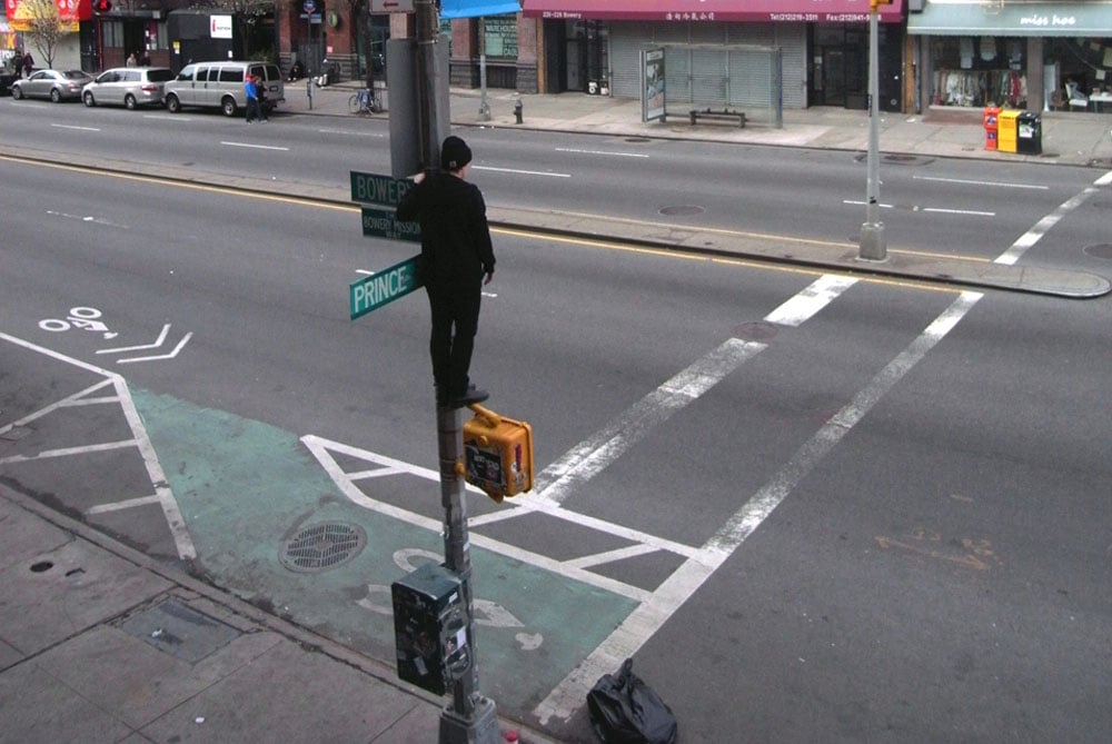 1) Self portrait with Keys to the City; 2) Lamppost; 3) Down; 4) Monkey