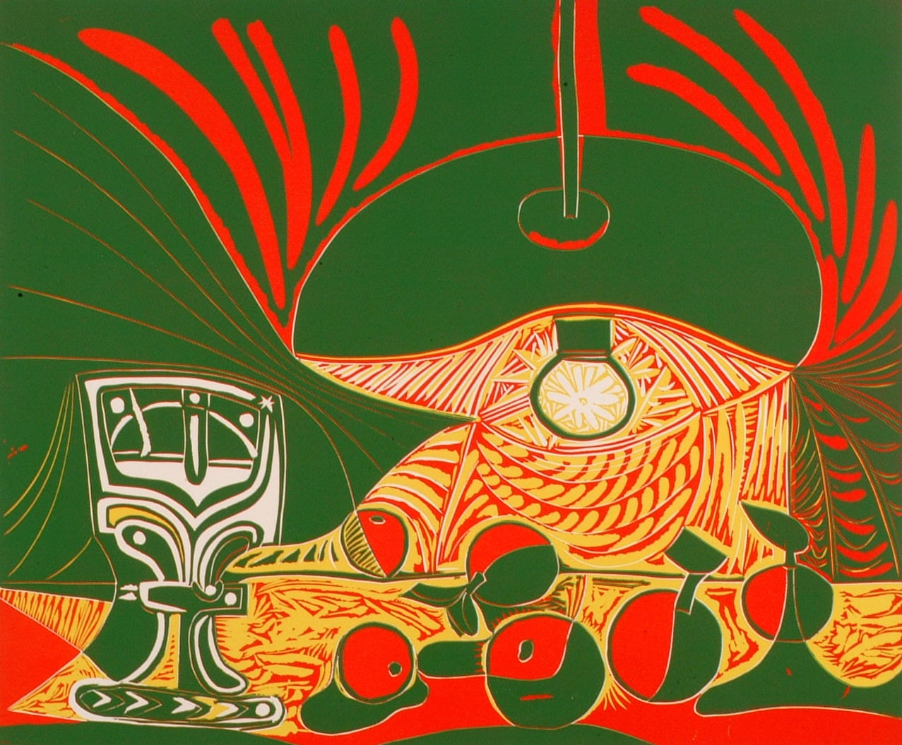 Two sets of linocuts 1) 'Still Life under the Lamp' and; 2) 'Jacqueline Reading'