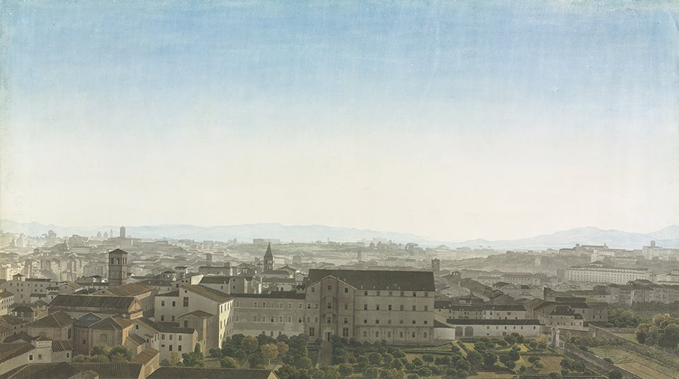 Panoramic view of Rome from Piazza San Pietro in Montorio on the Janiculum: From the Capitoline Hill to the Aventine Hill, with Trastevere in the foreground, the gardens of the convent of San Callisto and San Michele