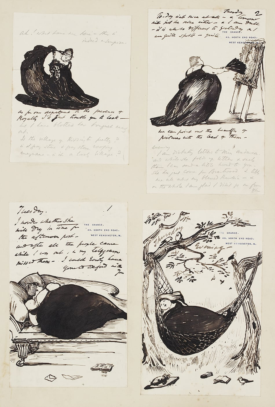 Letters from Burne-Jones to May and Daphne Gaskell. 1) Album of letter from EB-J to Mrs Gaskell, 2) Album of letters from EB-J to Mrs Gaskell I 3) Album of letters from EB-J to Mrs Gaskell II, 4) Album of illustrated letters from EB-J to Mrs Gaskell, 5) D