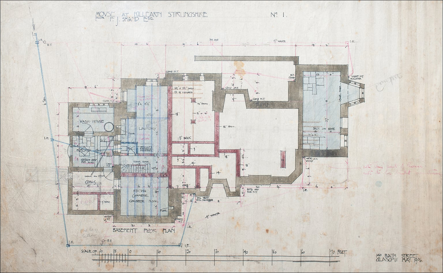 Set of eight architectural drawings for Auchinibert, Killearn