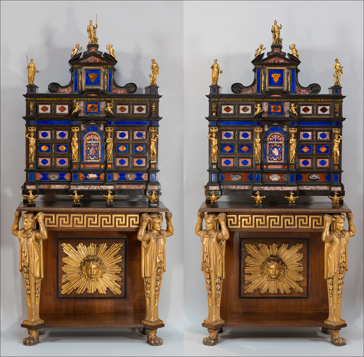 Pair of ebony veneered Cabinet of Architectural Form