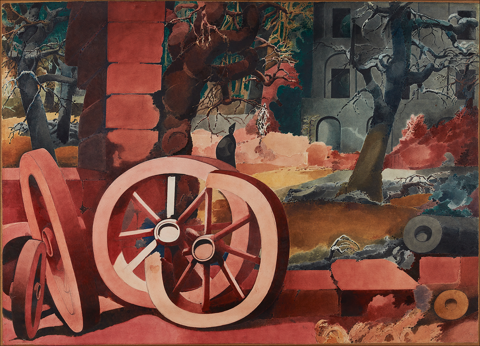 Landscape with Red Wheels