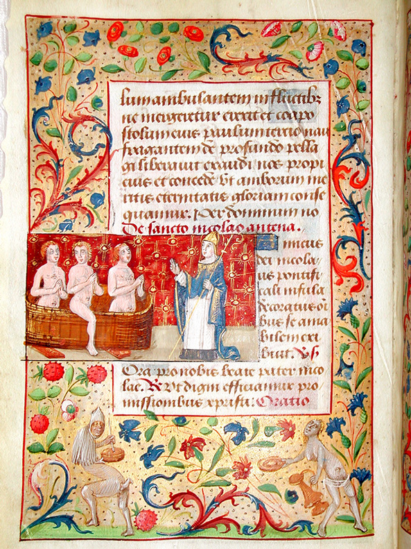 French Book of Hours, St Nicholas (16v), courtesy University of Reading Special Collections