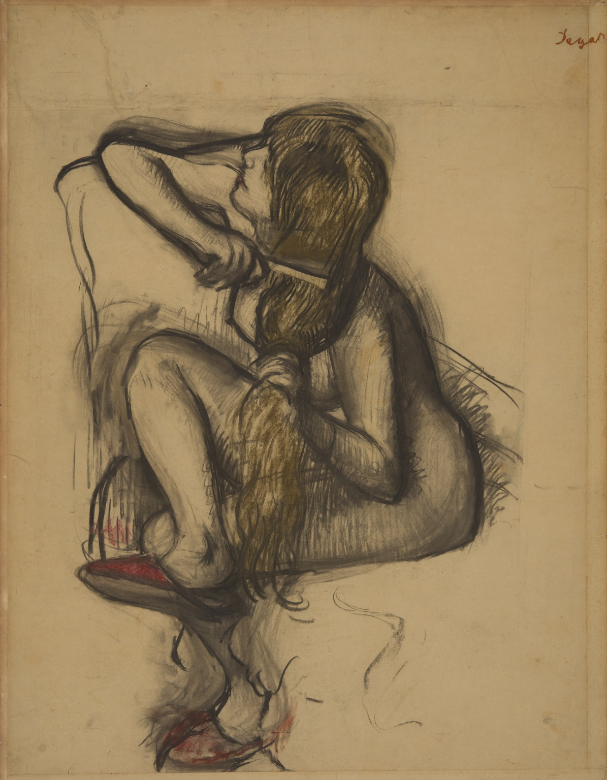 Edgar Degas, Femme se peignant, 1887-1890 c., Charcoal and red and brown chalk on tracing paper laid down on board, Pallant House Gallery, Chichester (Accepted by HM Government in Lieu of Inheritance Tax from the estate of Stephen Brod and allocated to Pa