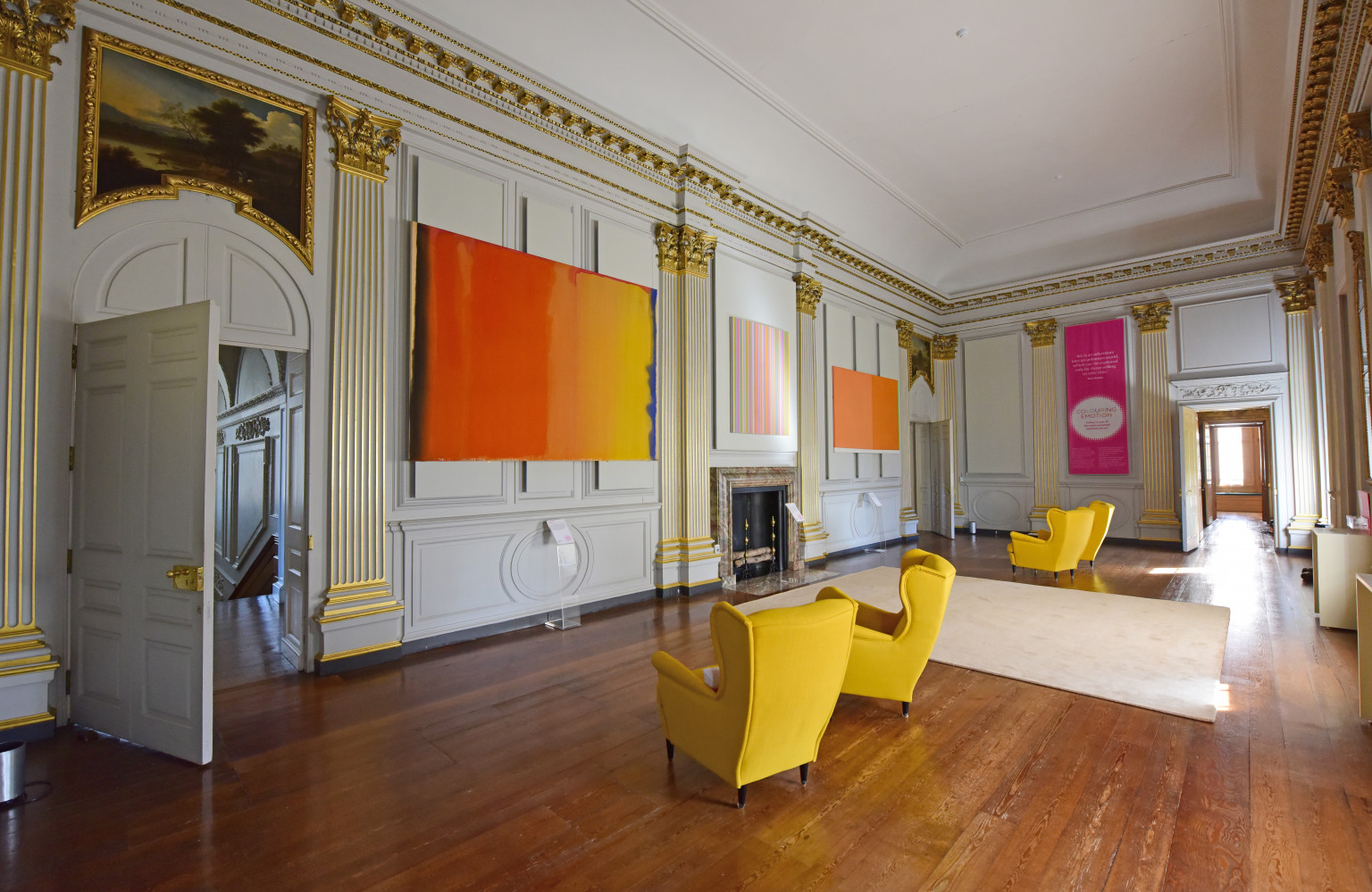 Abstract colours take their place in the historic Saloon