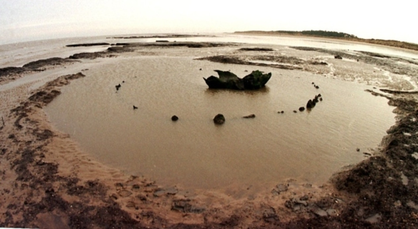 Seahenge at low tide before its excavation.