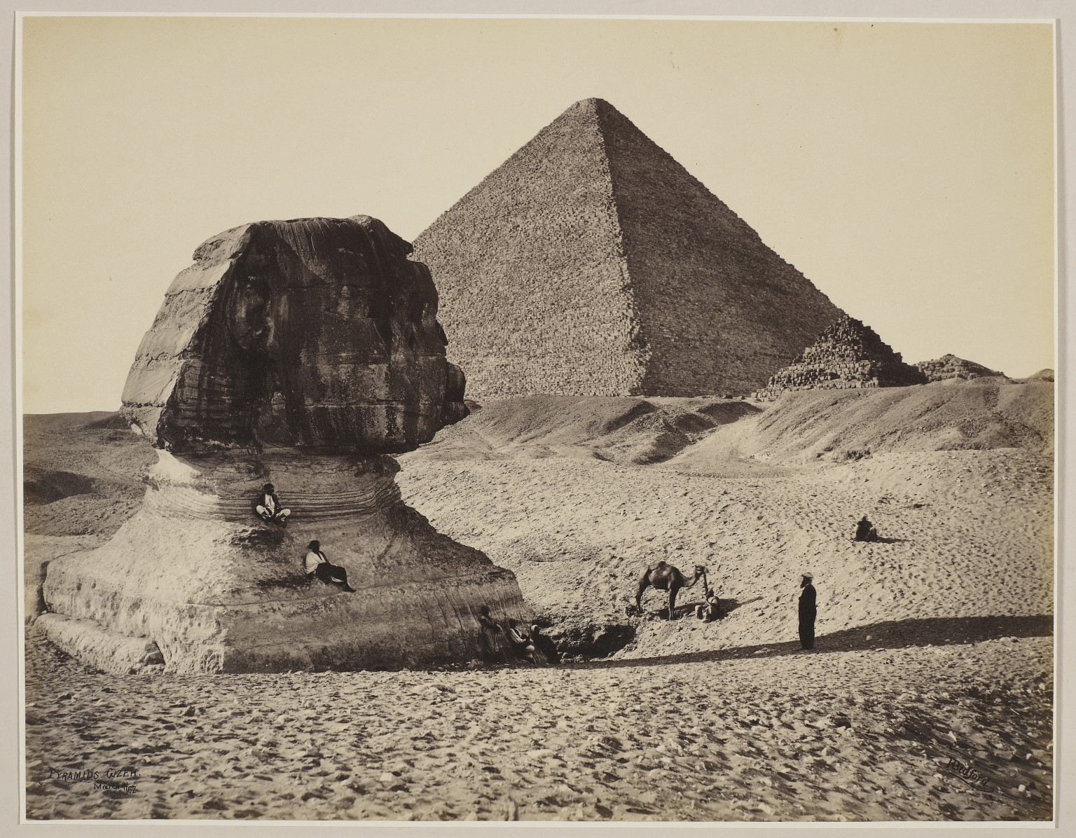 Francis Bedford, 'The Sphinx, the Great Pyramid and two lesser Pyramids, Ghizeh, Egypt'.