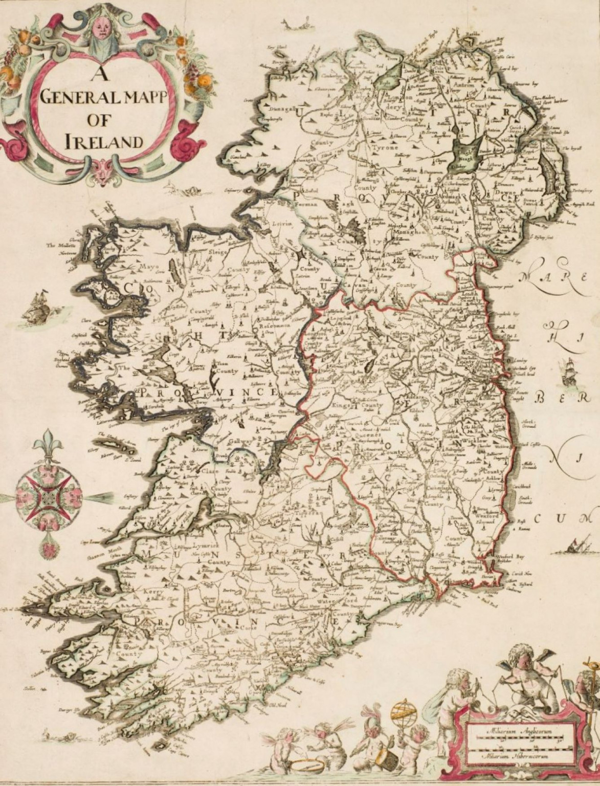 Map of Ireland from Sir William Petty's 'Hiberniae Delineatio', published in 1684, the first printed atlas of Ireland