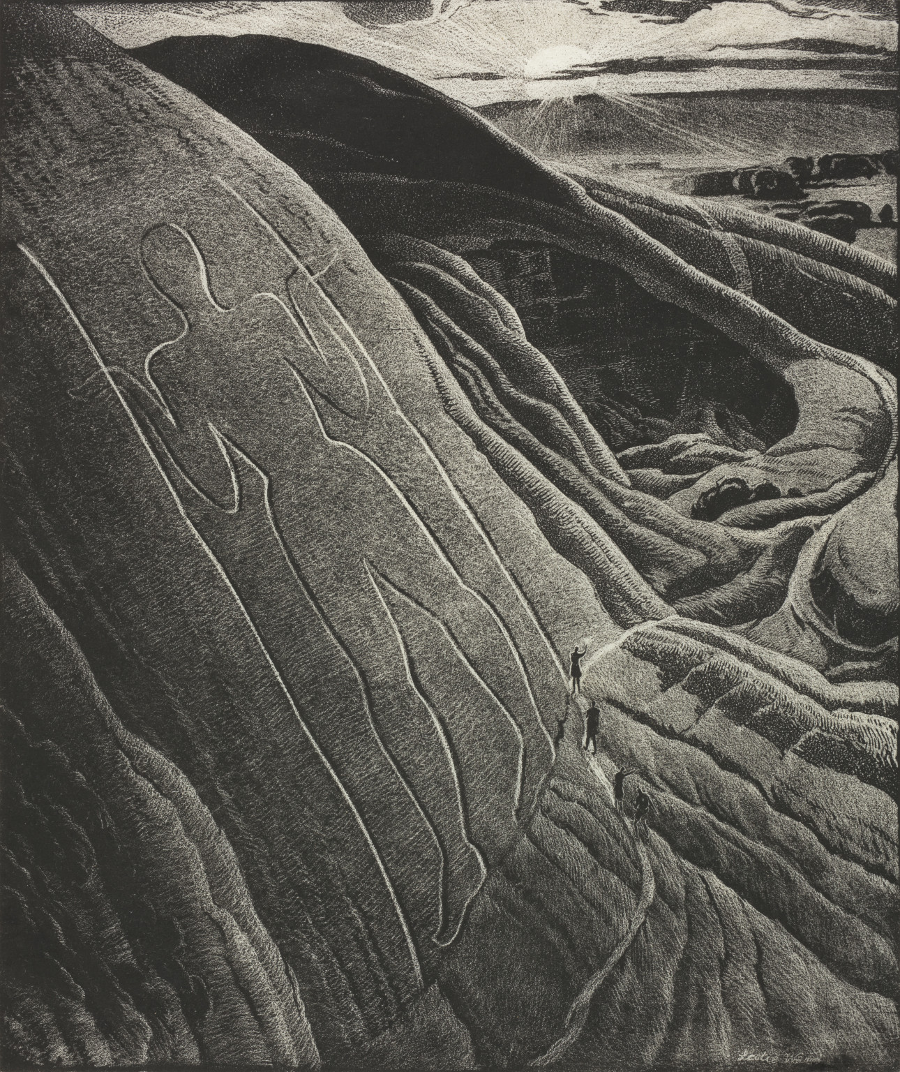 Leslie Moffat Ward, The Long Man of The Downs (detail), 1943.