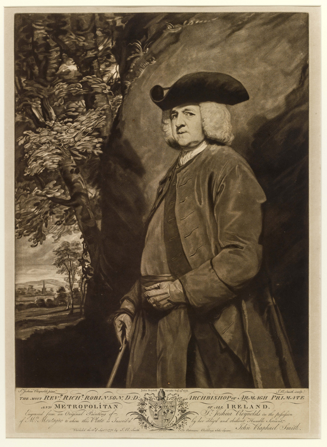 Mezzotint of The Most Revd Dr Richard Robinson, engraved by John Raphael Smith, after Sir Joshua Reynolds, and published by John Boydell, 1775