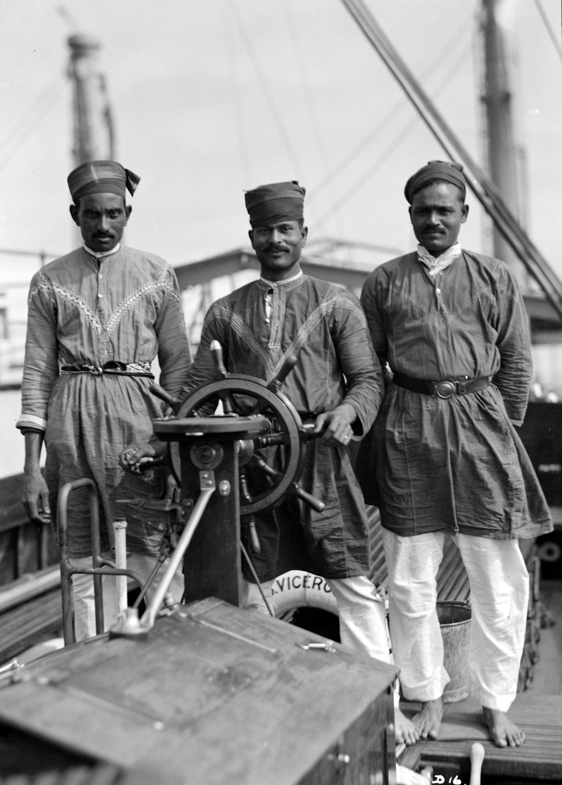 Three lascars behind the wheel of The Viceroy of India (1929). Such images were often posed.