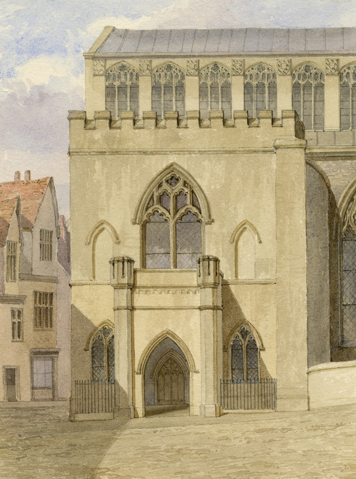 Drawing of 'St. Andrew's Hall Porch' by Henry Ninham (1793-1874) where Benson lectured
