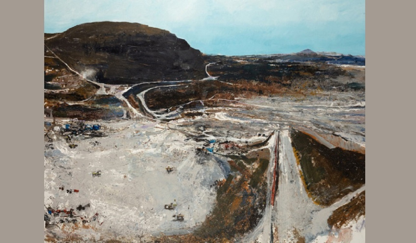 Kurt Jackson - Pit and benches. 2018 mixed media with kaolin and sand on linen 201 x 261cm