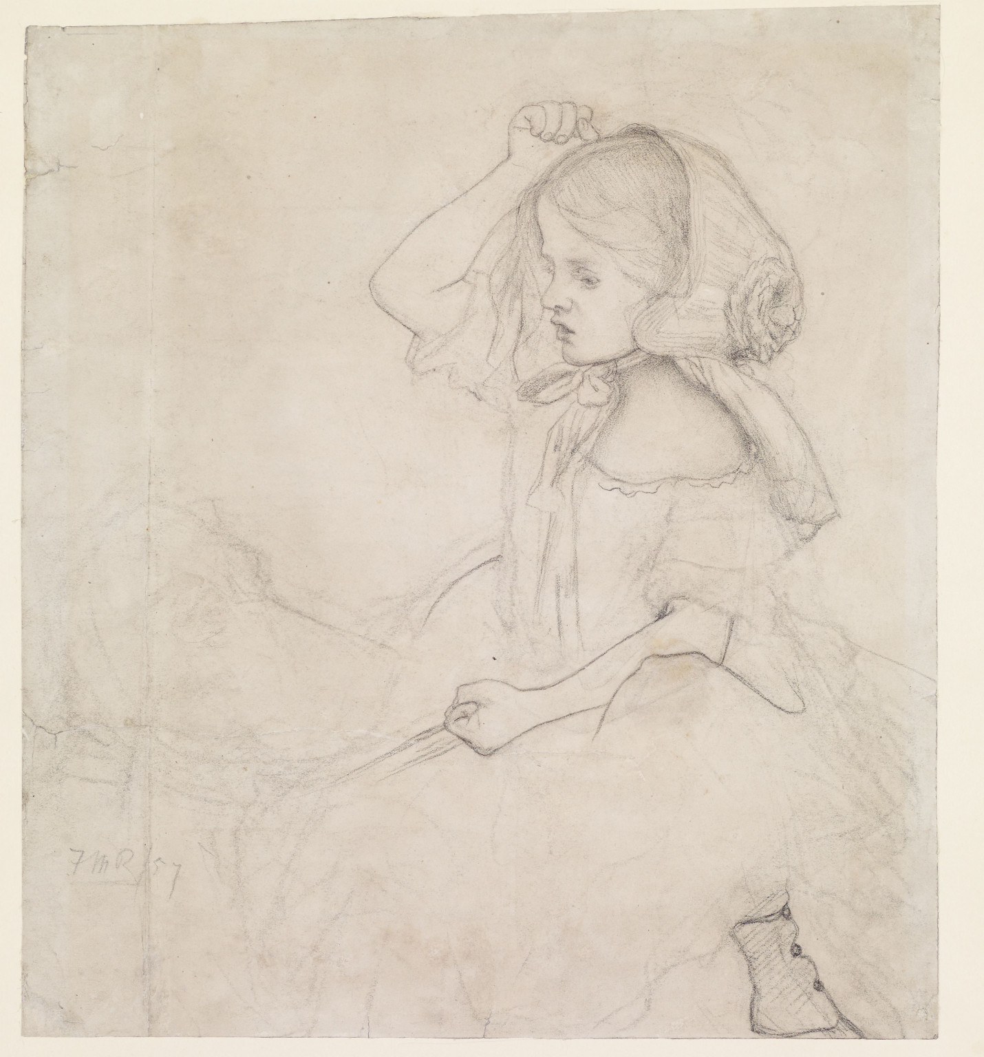 Ford Madox Brown, Stages of Cruelty - Study for the Child (Catherine Madox Brown), 1857, Chalk on paper, Birmingham Museums Trust. Photo by Birmingham Museums Trust, licensed under CC0