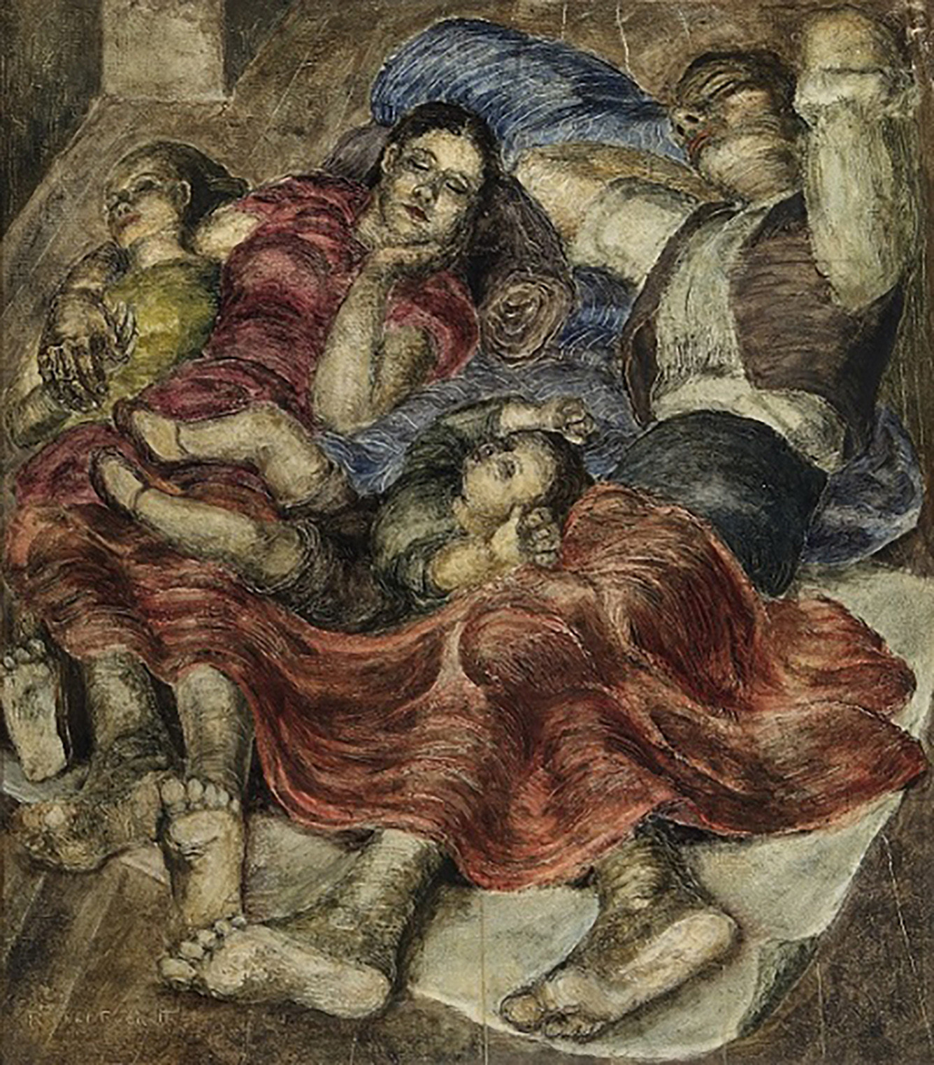 Painting by Rachel Reckitt showing Spanish Refugees sleeping on the platform of an Underground Station