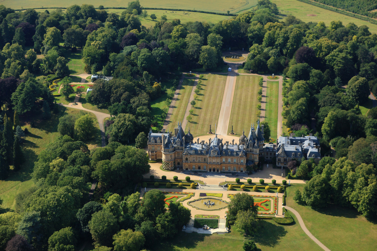 Aerial view of Waddesdon