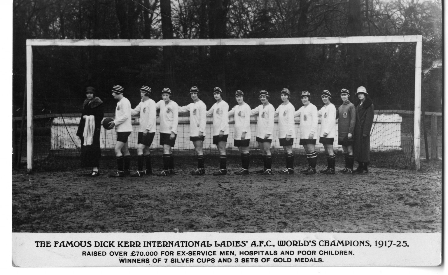 Dick Kerr Ladies, World Champions 1917-25. Lily Parr is holding the football.