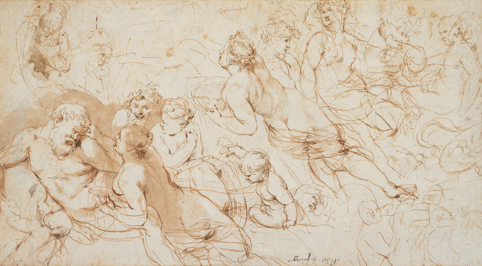 Peter Paul Rubens, 'Recto: Silenus and Aegle with other studies. Verso: Figure studies' (c. 1612-15)