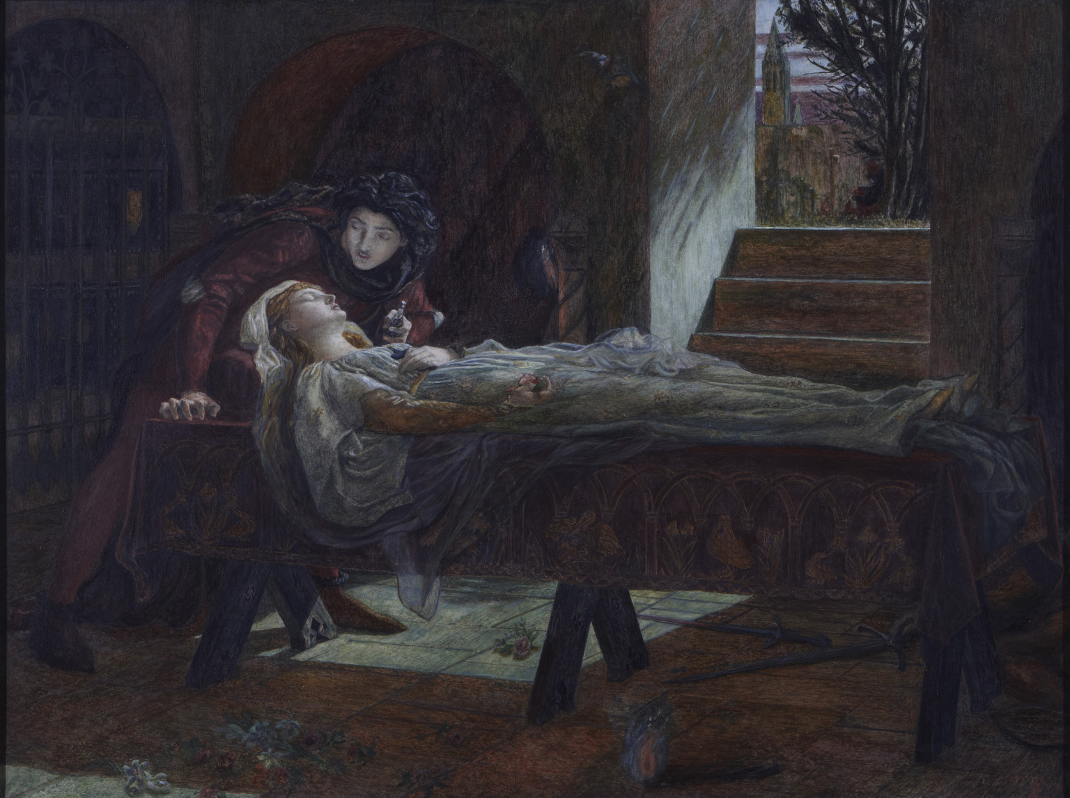 Lucy Madox Brown, The Tomb Scene from Shakespeare's 'Romeo and Juliet' (Act V: sc.3), 1870, Watercolour and gouache on paper.  Wightwick Manor - National Trust