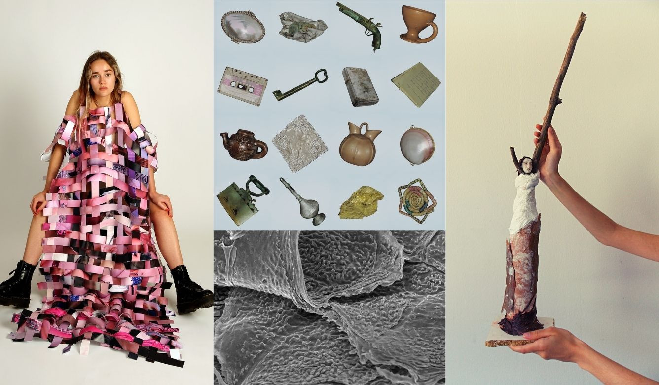 L to R, Natasha Evans. Flesh Dress, Sidonie Knight. A Trace of Touch: Psoriasis, Ibrahim Ince. all that is left of you (laid out on a table), Michelle Muratori, Co-Existence. © The Artists.