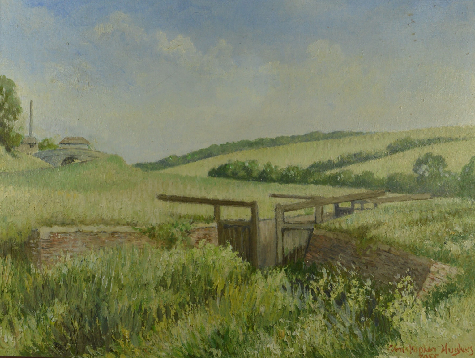 Crofton Lock  - Framed oil on canvas: view of Crofton Lock on the Kennet and Avon Canal. with Crofton pumping station in the background, Christopher Hughes 1955