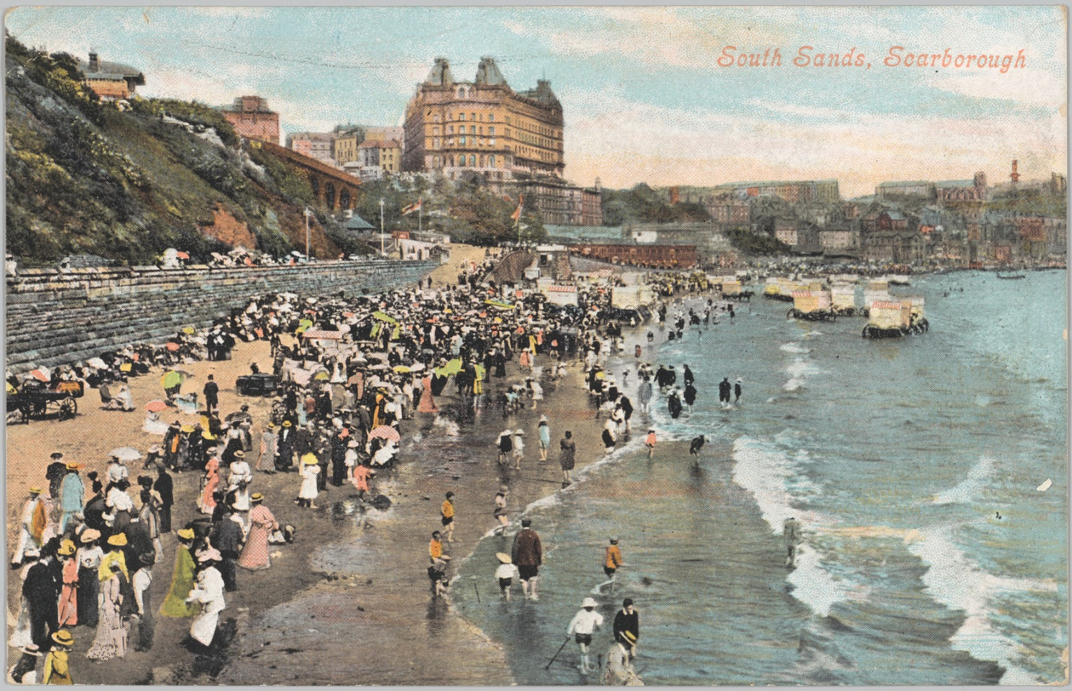 Postcard of South Sands at Scarborough, early 1900s