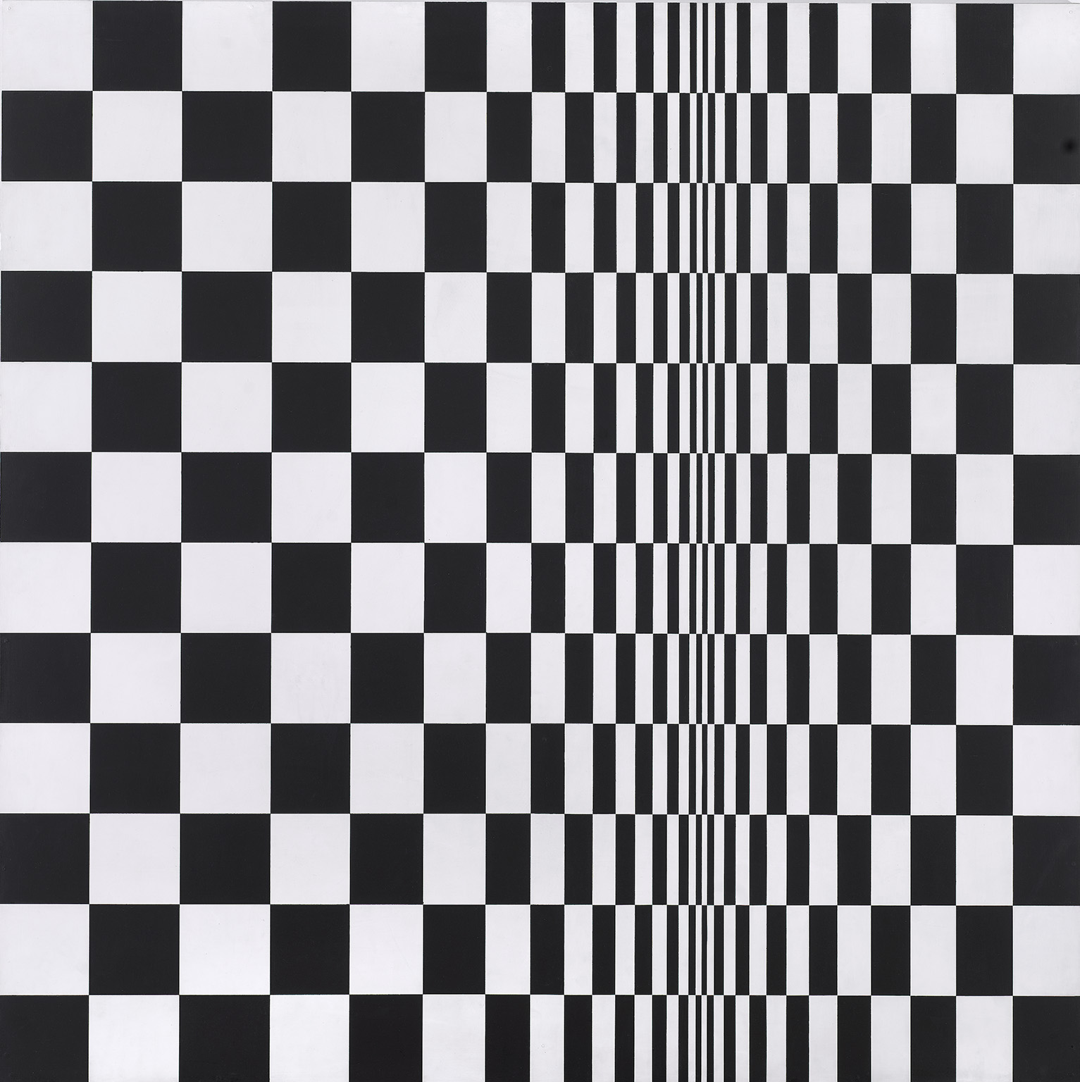 Bridget Riley, (1931-), Movement in Squares, 1961, Tempera on Hardboard. Photo © Arts Council Collection, © Bridget Riley, 2020. All rights reserved.