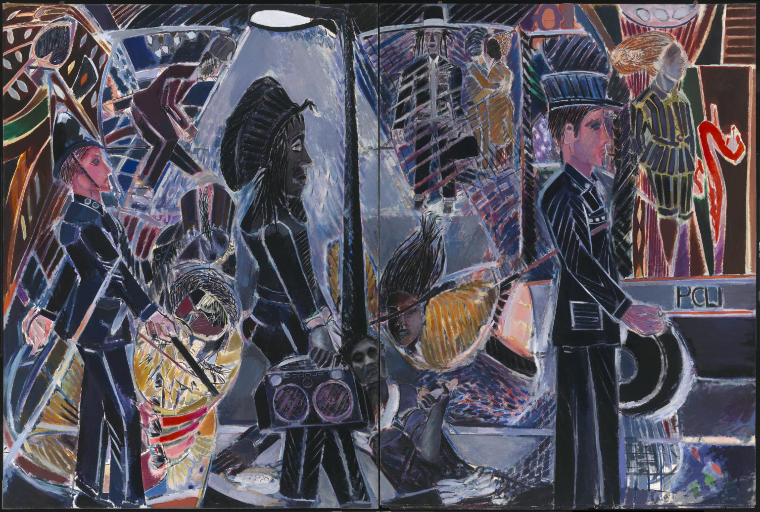 Denzil Forrester, Three Wicked Men 1982, Tate. Art from Britain and the Caribbean at Tate Britain 1 December 2021 - 3 April 2022