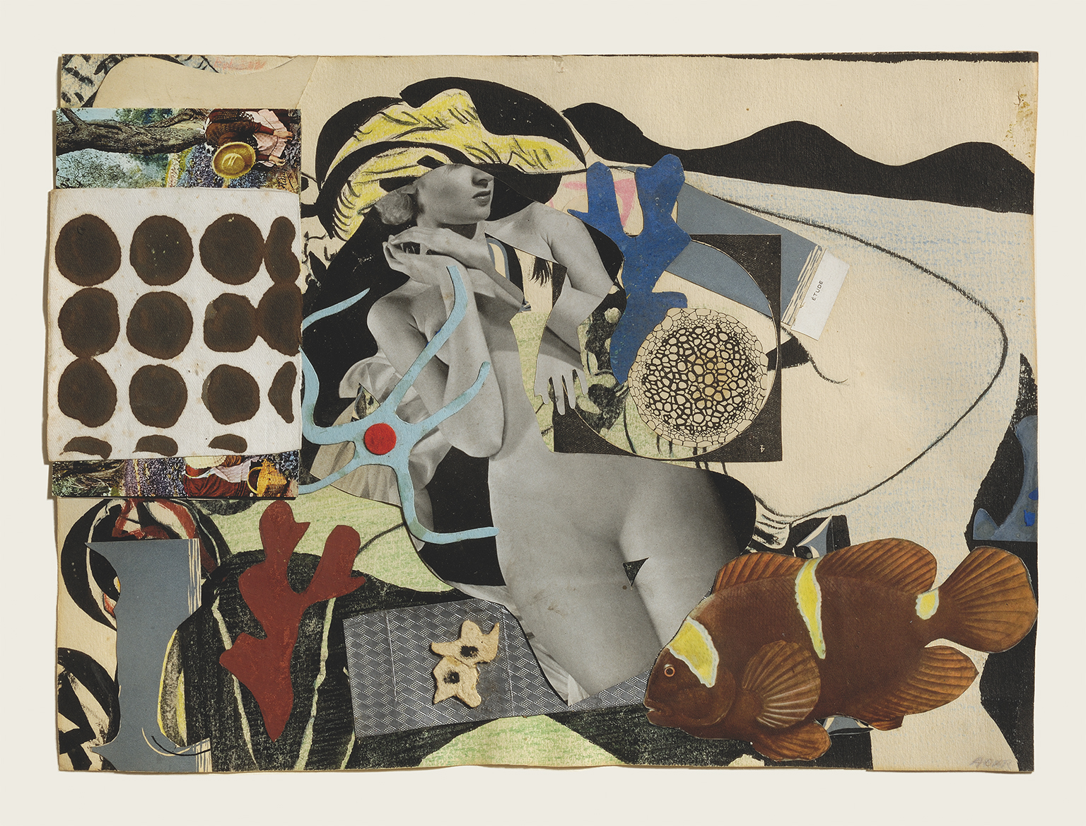 Eileen Agar, Erotic Landscape, 1942, Collage on paper, 255 x 305 mm. Private collection © Estate of Eileen Agar/Bridgeman Images. Photograph courtesy Pallant House Gallery, Chichester © Doug Atfield