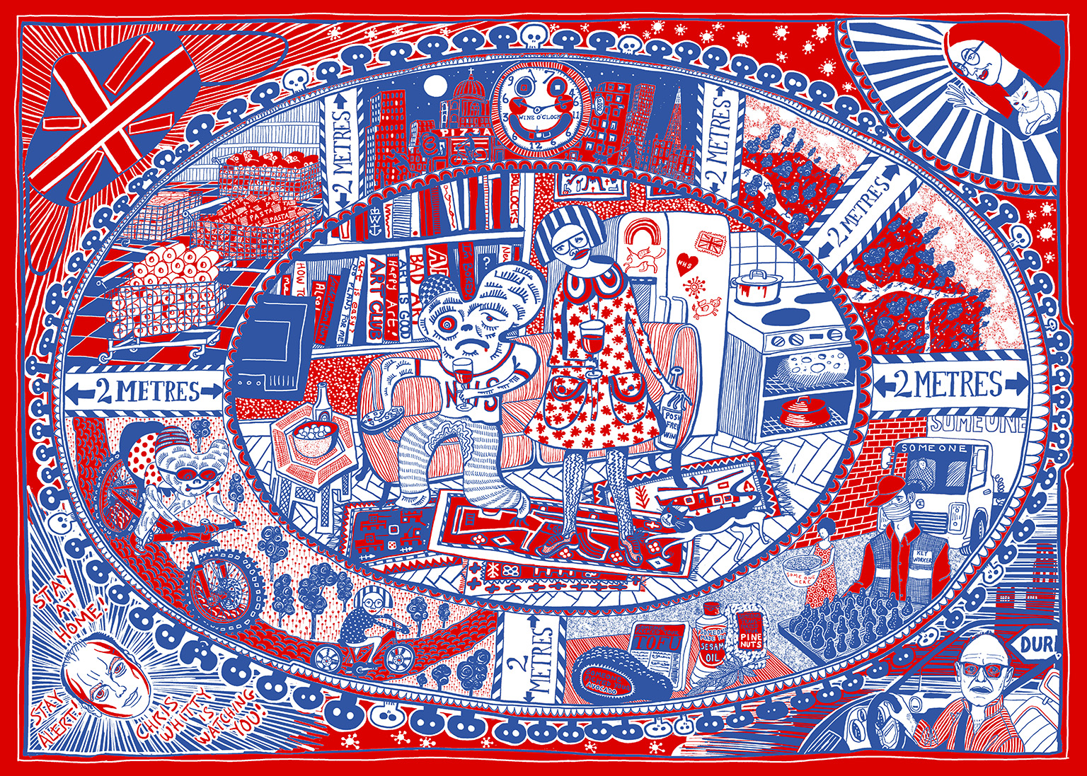 Grayson Perry Tea Towel 2020, Courtesy the artist and Victoria Miro Copyright © Grayson Perry