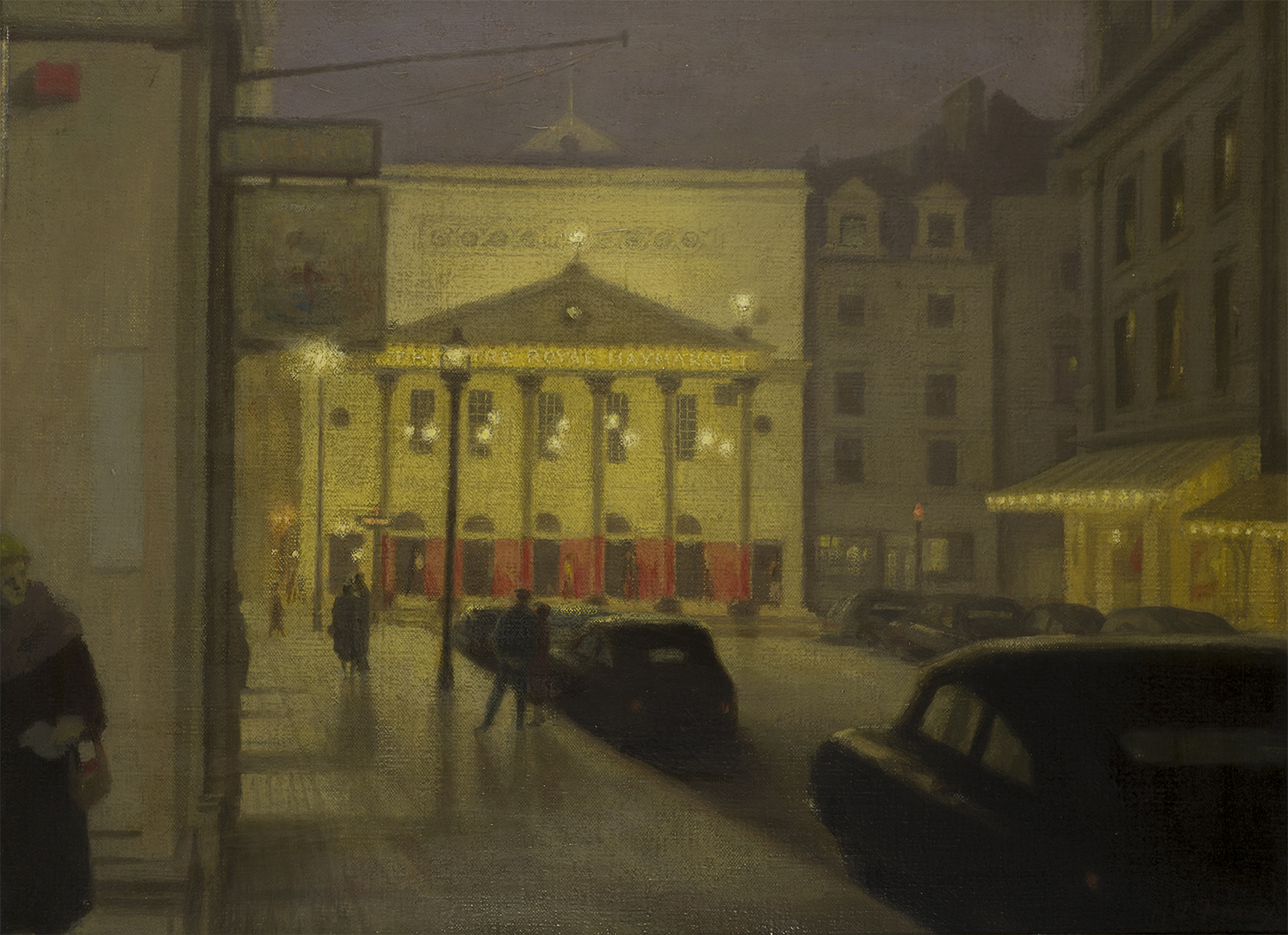 Hubert Arthur Finney (1905-1991), Theatre Royal Haymarket by Night, signed, titled to reverse, Oil on canvas, 40.5 x 30