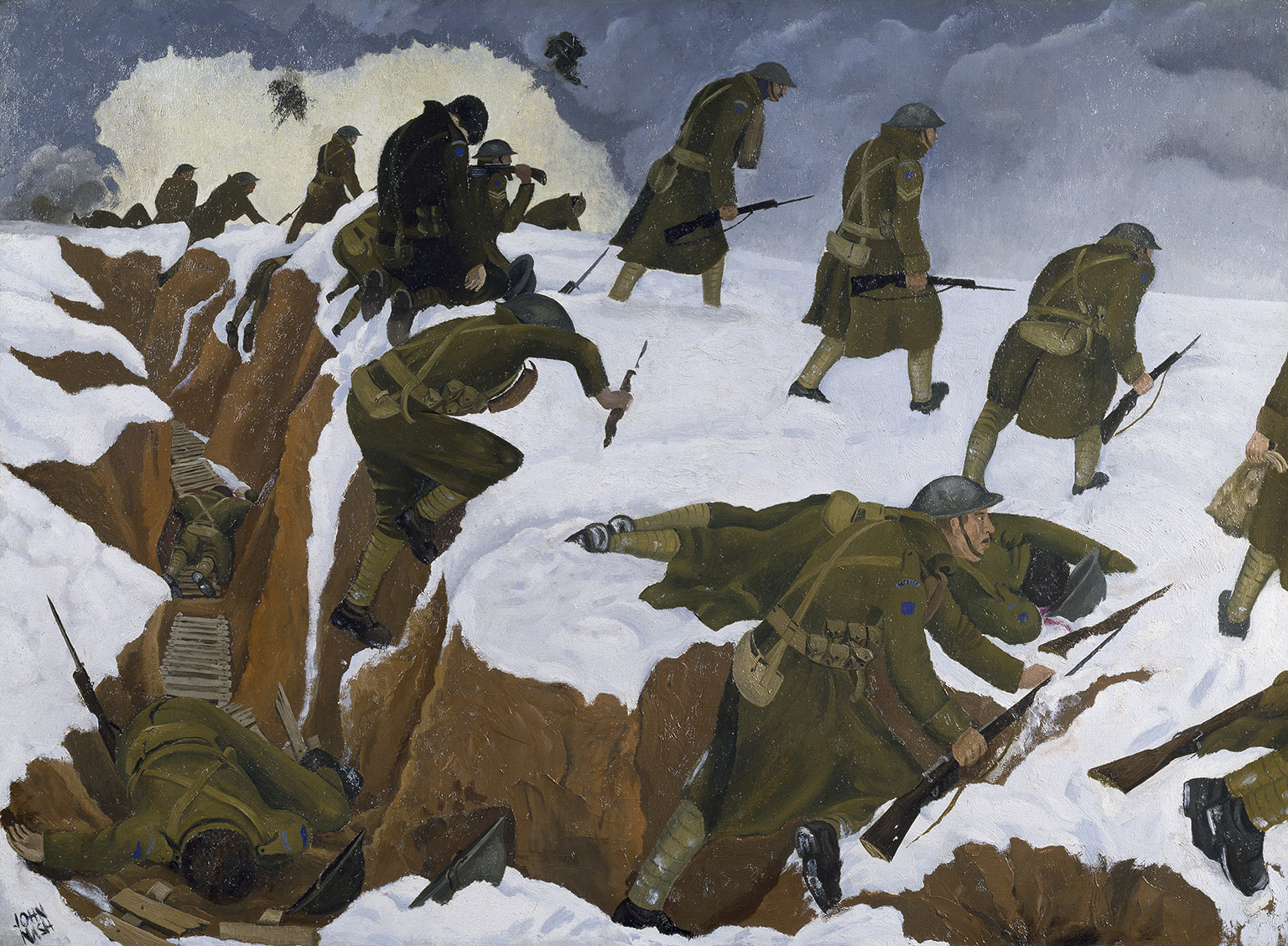 John Nash, 'Over the Top' 1st Artists Rifles at Marcoing, 30th December 1917, 1918. Oil on Canvas.