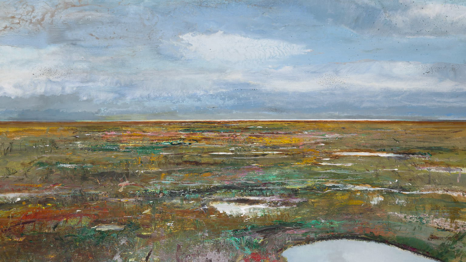 From the hide, Cley marshes, Norfolk 2019 brent geese chatter, wigeon whistles, reed whispers, mixed media on paper