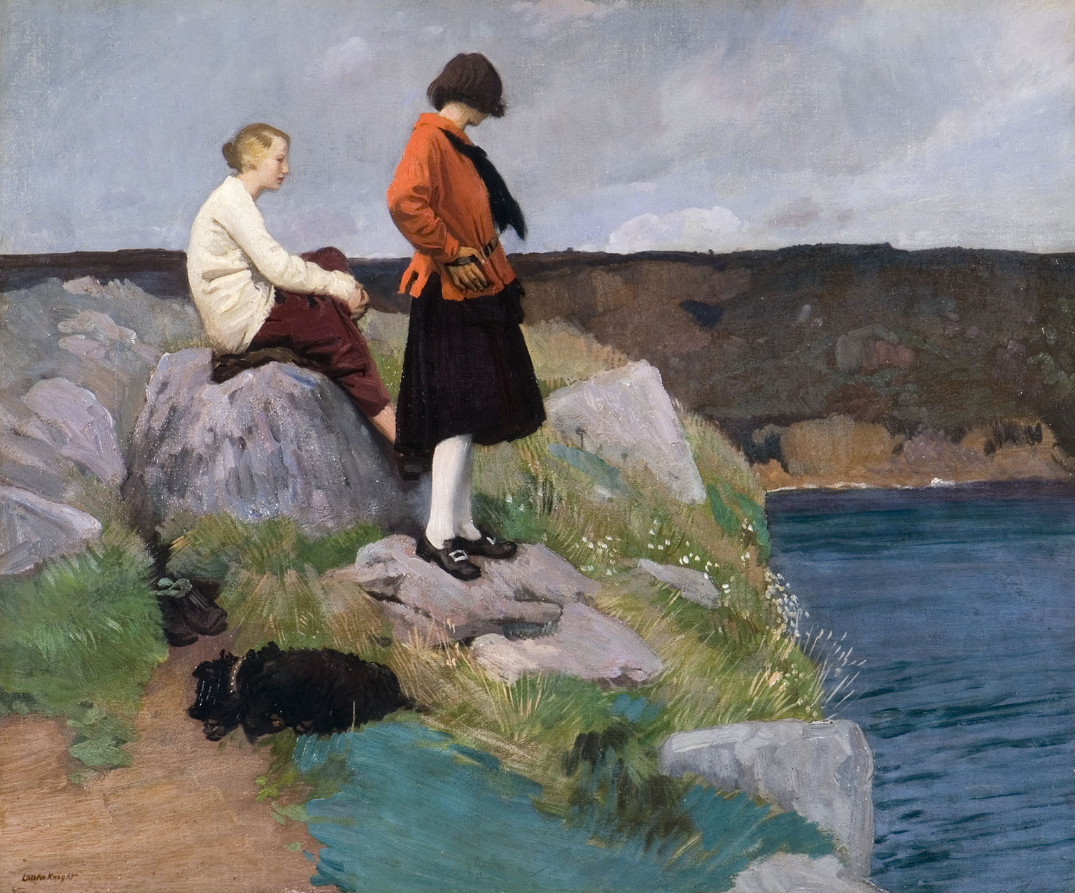 Laura Knight (1877 – 1970), The Cornish Coast aka Two Girls and a Dog, 1917, Oil on canvas