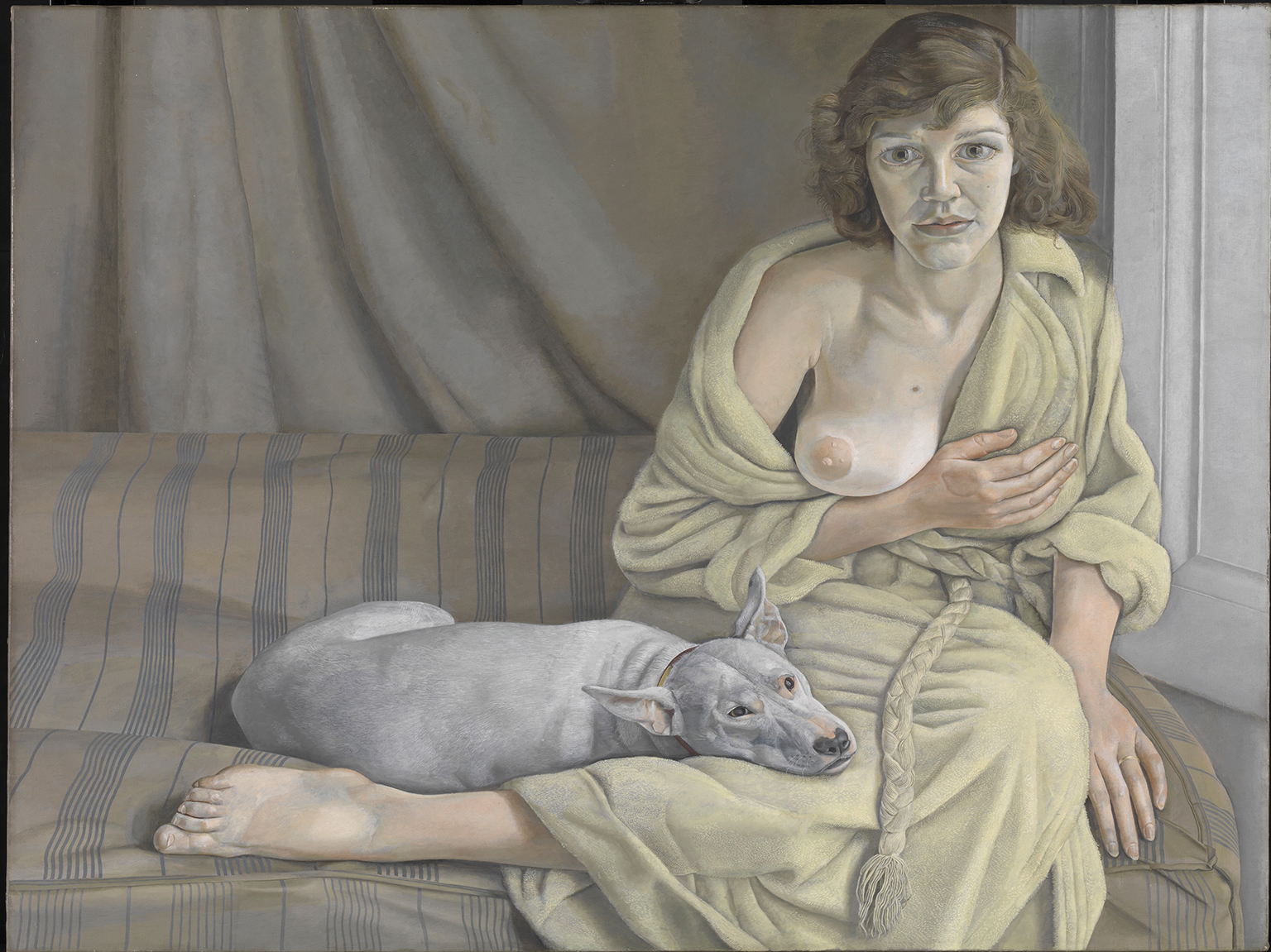 Lucian Freud, Girl with a White Dog 1950-1. Lucian Freud in Focus at Tate Liverpool 6 July 2021 - 16 January 2022