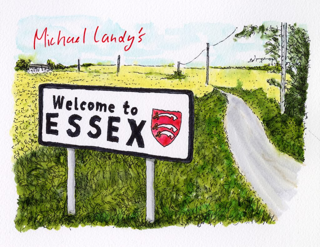 Michael Landy, Welcome to Essex, 2021. Ink on paper.