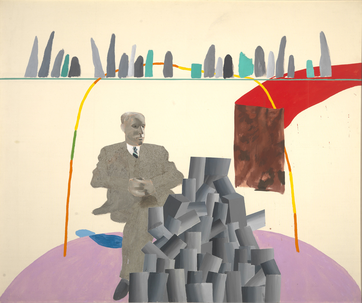 """David Hockney """"Portrait Surrounded by Artistic Devices"""" 1965 Acrylic on canvas 60 x 72"""" © David Hockney, Photo Credit: Richard Schmidt, Collection Arts Council, Southbank Centre, London"""