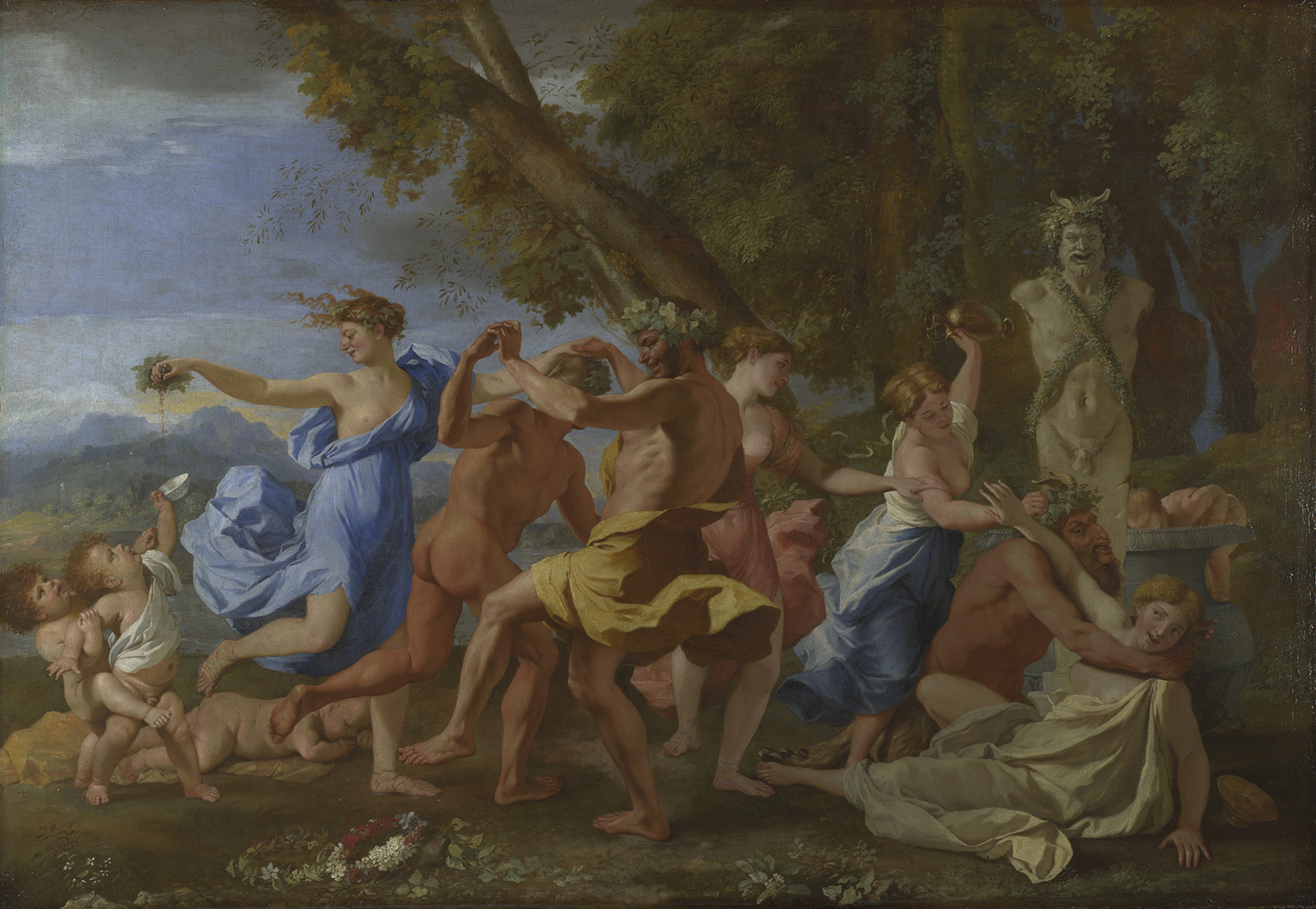 Nicolas Poussin, A Bacchanalian Revel before a Term, 1632-3, Oil on canvas, 98 x 142.8 cm. Poussin and the Dance at National Gallery 9 October 2021 - 2 January 2022