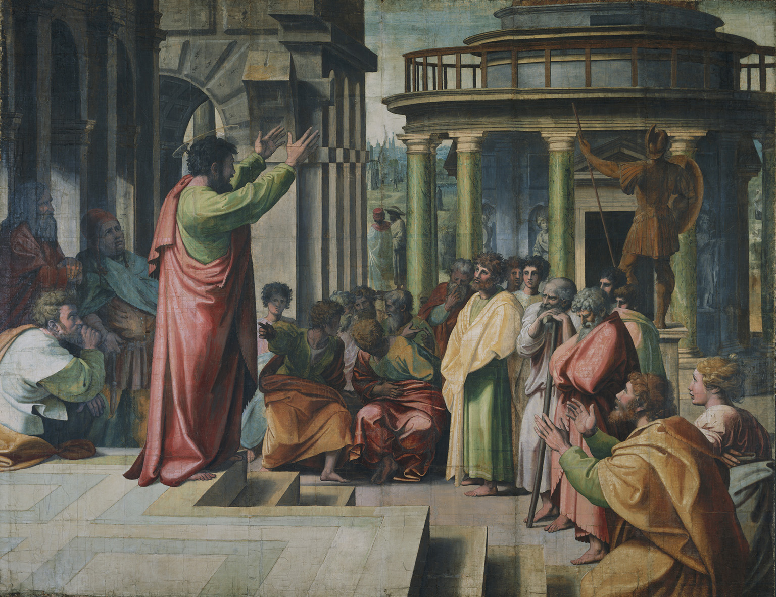 Raphael Cartoon, Paul Preaching at Athens (Acts 17: 16-34), by Raphael, 1515 – 16, Italy.