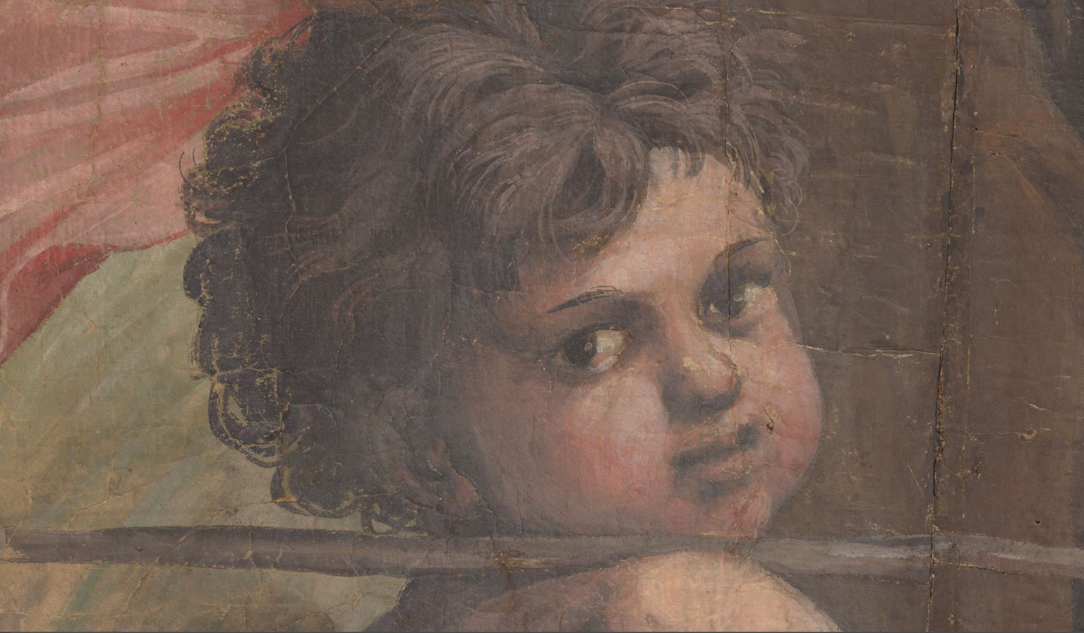 Detail showing the colour data of the Raphael Cartoon The Healing of The Lame Man.