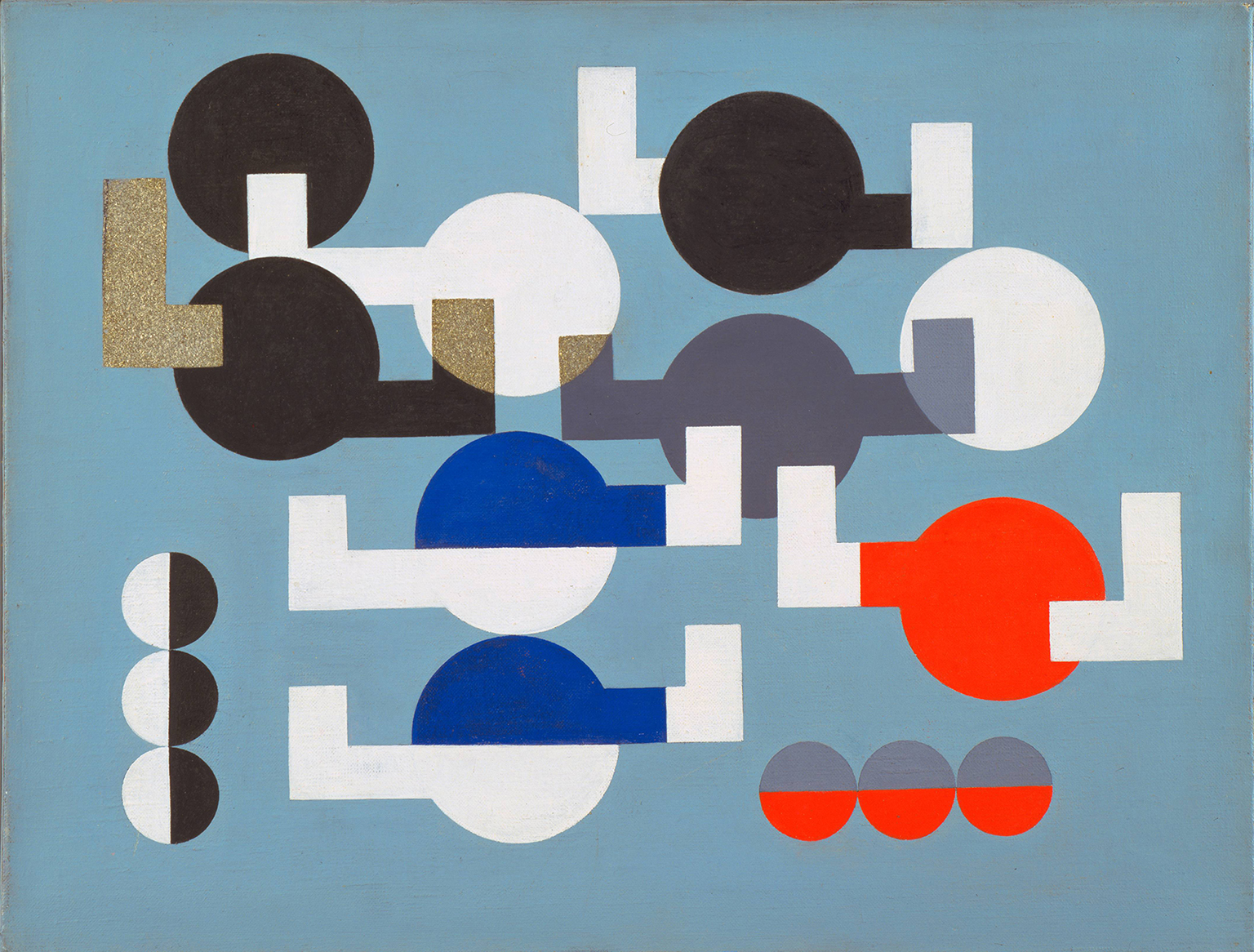 Sophie Taeuber-Arp, Composition of Circles and Overlapping Angles 1930, The Museum of Modern Art, New York. The Riklis Collection of McCrory Corporation.  Photo: The Museum of Modern Art, Department of Imaging and Visual Resources.